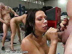 Wild Sexy Girls In A Garage