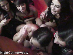 Wild Party Girls Share One Stripper