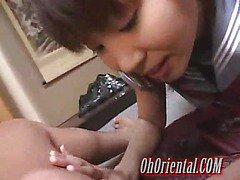 hot schoolgirl licking his balls