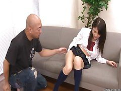 Kanna Harumi Asian schoolgirl shows off her hairy beaver