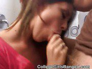 Horny College Brunette On Her Knees Sucking dick