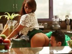 Amazing big tits babe Madison Ivy pounded in the kitchen