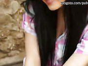 Long black haired girlfriend Timea payed for hard fucking