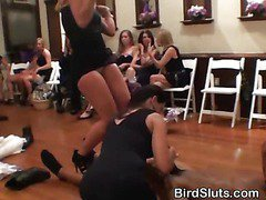 Horny Amateur Women Sharing Male Strippers At Party