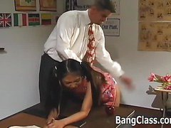Schoolgirl gets pumped in 3some action