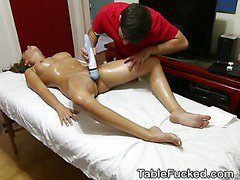 Pretty Brunette Gets Her Pussy Eaten Out On Massage Table