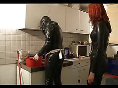 Two dominas punishing their slave