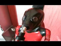 Girl in red latex going crazy and horny