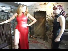 Two sexy dominas torture their slave
