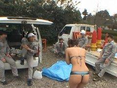 Micro bikini clad Japan beauty masturbates in public
