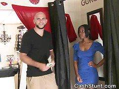 Black Amateur Babe Flashes Tits In Money Talks Stunt