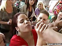 Two amateurs get facial from stripper