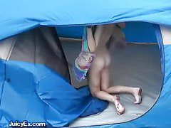 Petite Brunette Sucks Cock In Tent