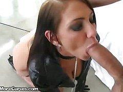 Brunette Slut Sucks Big Cock