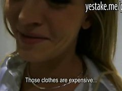 Blonde chick gives head and humps on a dick in changingroom