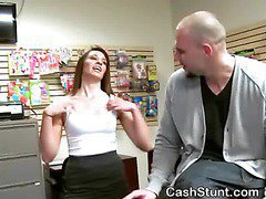 Brunette Flashing Her Tits And Pussy In Money Talks Stunt