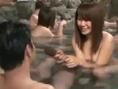 Shy nude Japanese schoolgirl outdoor bathing interview