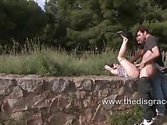 Dulce is bound and paraded naked outdoor