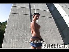 Big tits amateur fucks for money outdoor in public
