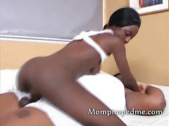 Tight black girl with lesbian strap on milf girlfriend who fucks her pussy