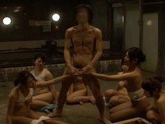 Bizarre Japan CFNM sauna ladies time freezing handjob