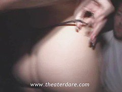 Public theater very risky gangbang on a tight blonde slut
