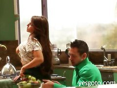 Busty young wife Madison Ivy oral sex and smashed in the kitchen