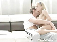 Huge rack honey Loulou pounded by her hubby on the couch