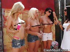 Girls Strip Down For Cash In Outdoor Money Talks Stunt