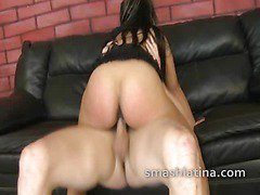 Latina chick extreme cock riding in humiliating interracial gangbang