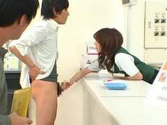 Bizarre Japan post office public counter side handjob