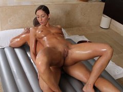Very sexy brunette pornstar Angelina Saige body to body massage