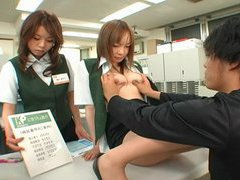 Public big breast exams at a strange Japan post office