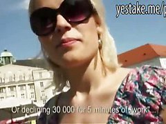 Blonde girl cant resist the money to get fucked in public