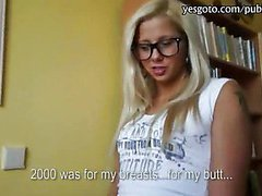 Blondie girl in glasses flashes tits and anal cock rides