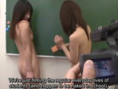 Japanese nudist schoolgirls clean class with subtitles