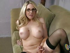 Blonde girl with big ttis gives handjob