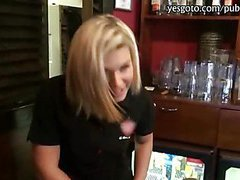 Pretty blonde barmaid payed for hardcore sex with stranger
