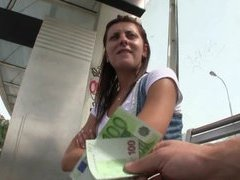 Innocent babe waiting for a tram railed in public for cash
