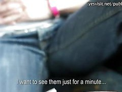 Horny amateur brunette babe flashes tits and pounded in the bus