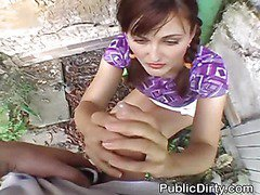Brunette Sucks Dick And Takes Facial In Public