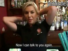 Cute barmaid agrees to get fucked in her bar for hard cash