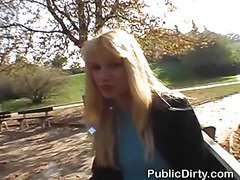 Blonde Flashes Her Tits And Pussy Outdoors In Public