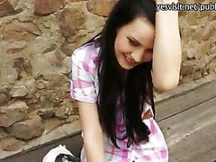 Pretty amateur black haired girl payed for anal sex in public