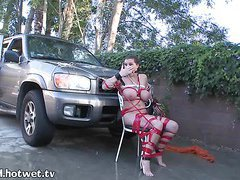 A Helpless Housewife Getting Hosed On The Driveway