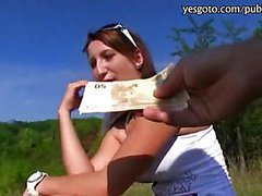 Pretty eurobabe sucks and pussy pounded in public and gets payed