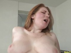 Bree rides that cock as her big luscious tits bounce.