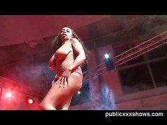 Busty ebony stripper tease
