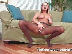 Blonde posing on nylons