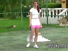 Redhead is spied on while playing tennis but is in need of company